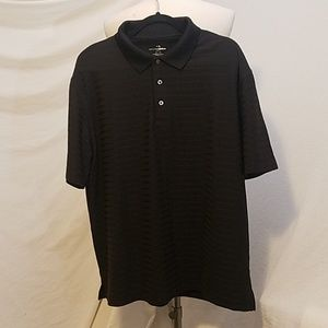 GRAND SLAM Black Stripe Textured Golf Shirt, XL